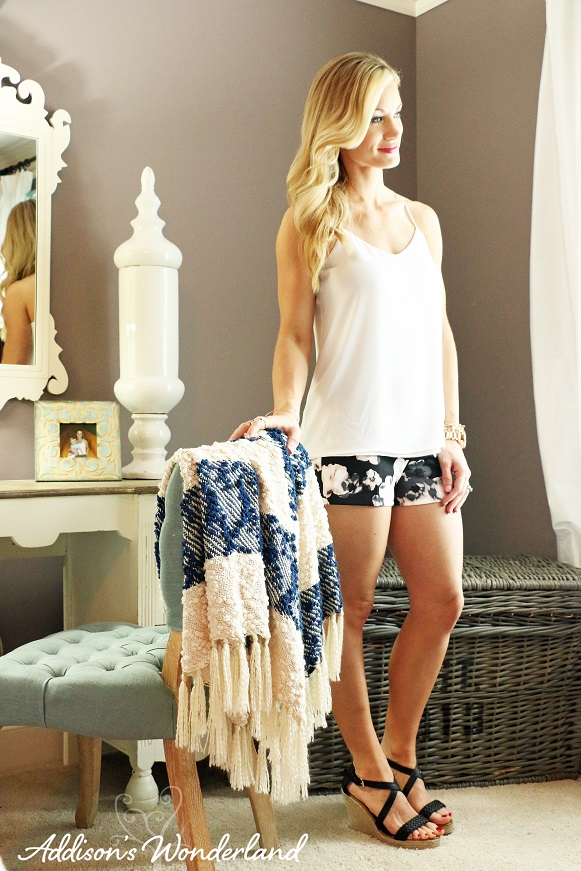 Floral Shorts and White TankL