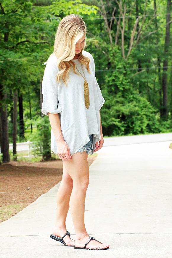 Grey Top Blue Jean Shorts 4