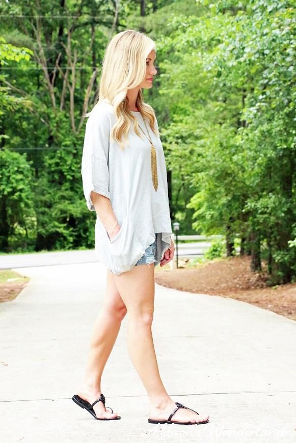 Grey Top Blue Jean Shorts 5