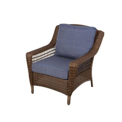 Hampton Bay Spring Haven Brown All-Weather Wicker Patio Lounge Chair with Sky Cushions