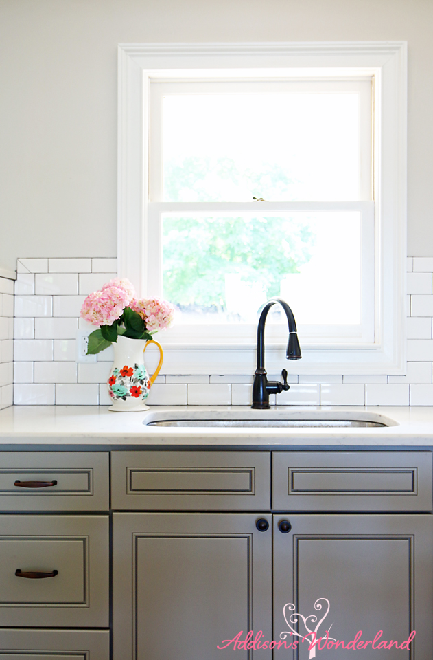 Lakehouse Kitchen Gray Cabinets White Subway Tile 10