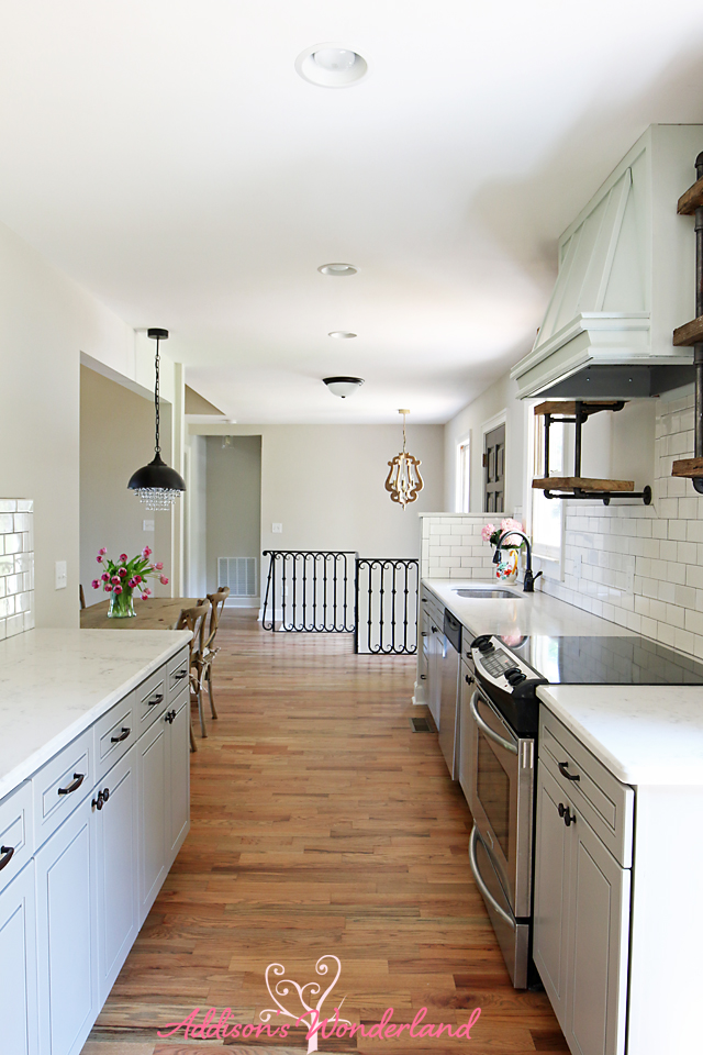 Lakehouse Kitchen Gray Cabinets White Subway Tile 17