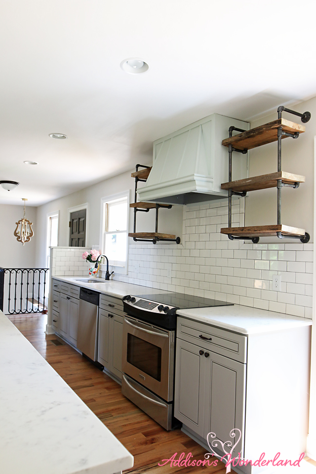 Lakehouse Kitchen Gray Cabinets White Subway Tile 19
