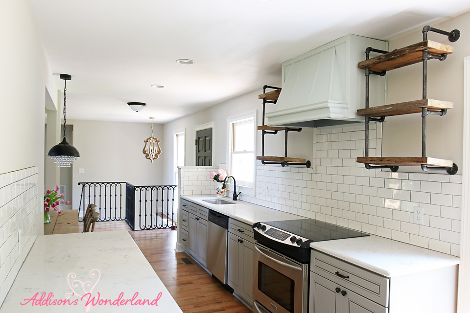 Lakehouse Kitchen Gray Cabinets White Subway Tile 20