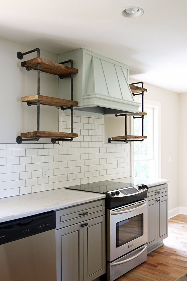 Lakehouse Kitchen Gray Cabinets White Subway Tile 9
