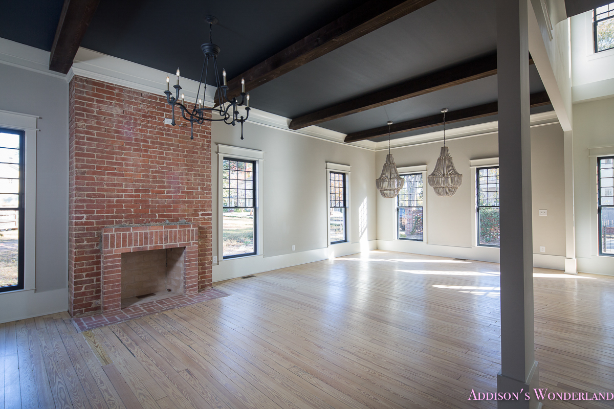 Living Room Dining Black Ceiling Wood Beams Whitewashed Hardwood Floors Gothic Currey Chandelier Beaded Gossamer Veil Walls
