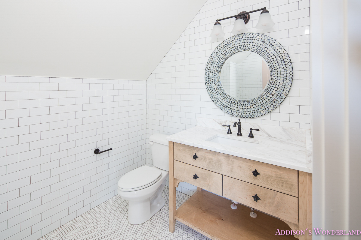 Whitewashed Vanity Bathroom Cabinet White Subway Tile Dark Grout Hexagon  White Tile Floors