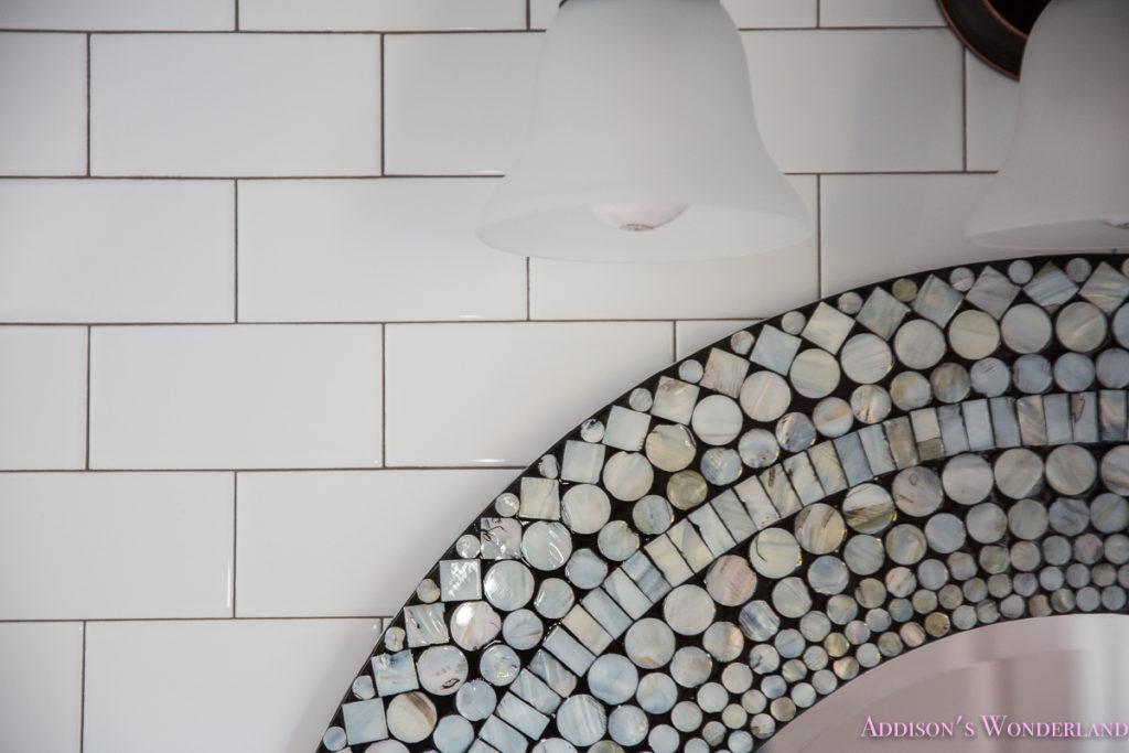 whitewashed-vanity-bathroom-cabinet-white-subway-tile-dark-grout-hexagon-white-tile-floors