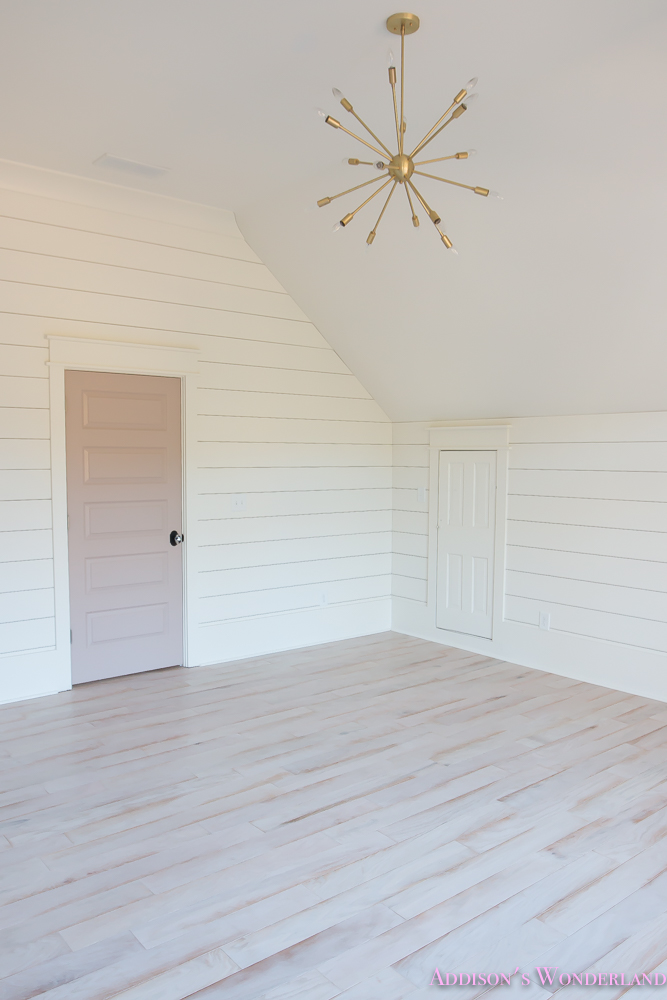 Shaw Floors Whitewashed Hardwood Flooring  White Shiplap Walls Rose Quartz Doors 10 Of 12