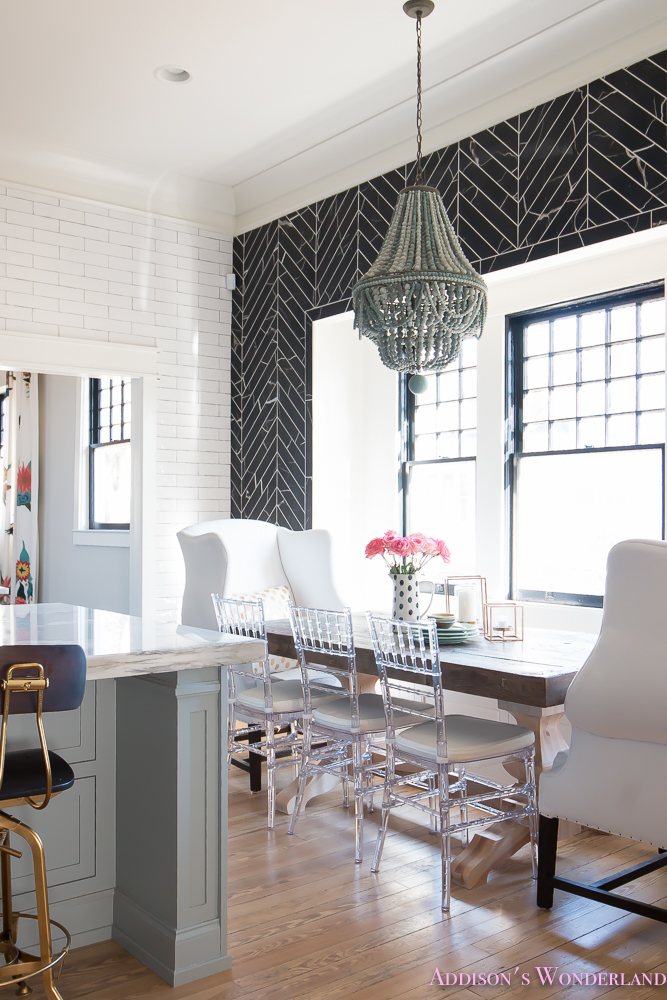 breakfast-room-black-chevron-wall-tile-white-wingback-dining-chairs-wood-table-clear-lucite-chairs-powder-blue-cabinets-11-of-28