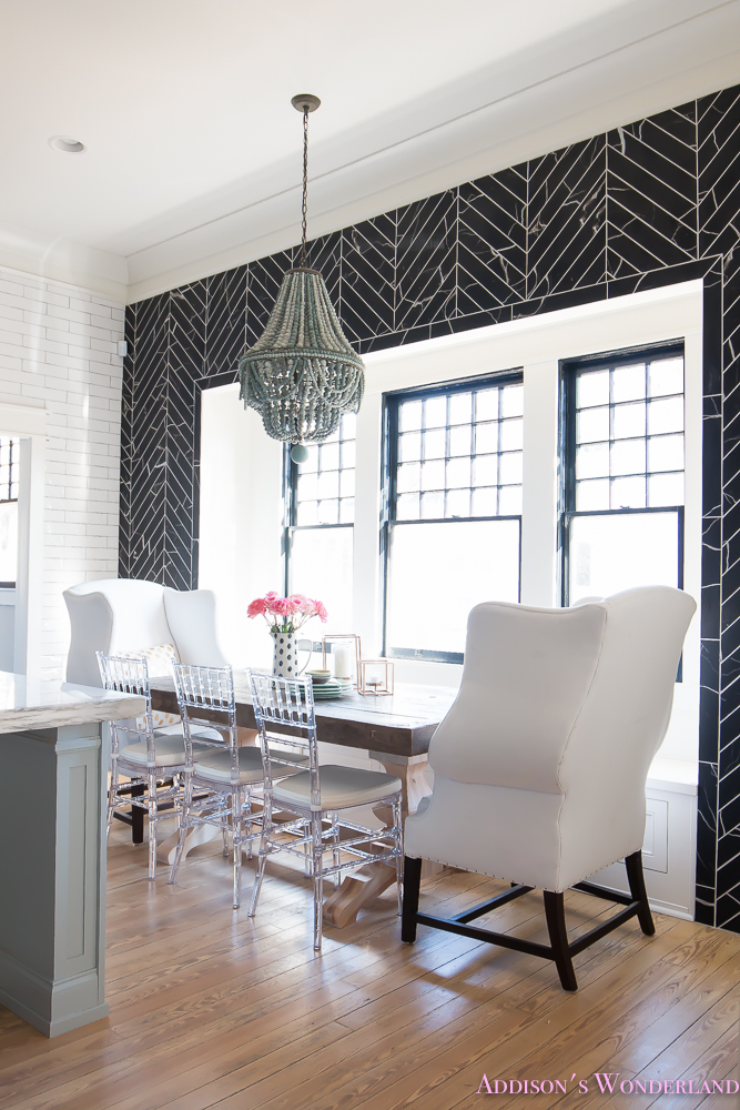 breakfast-room-black-chevron-wall-tile-white-wingback-dining-chairs-wood-table-clear-lucite-chairs-powder-blue-cabinets-12-of-28