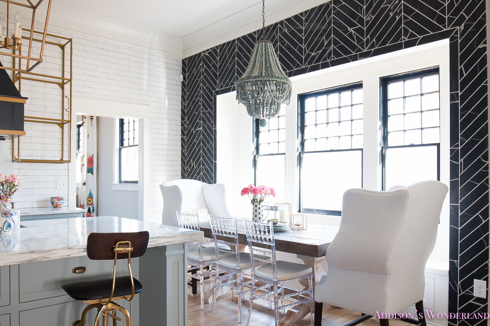 breakfast-room-black-chevron-wall-tile-white-wingback-dining-chairs-wood-table-clear-lucite-chairs-powder-blue-cabinets-13-of-28