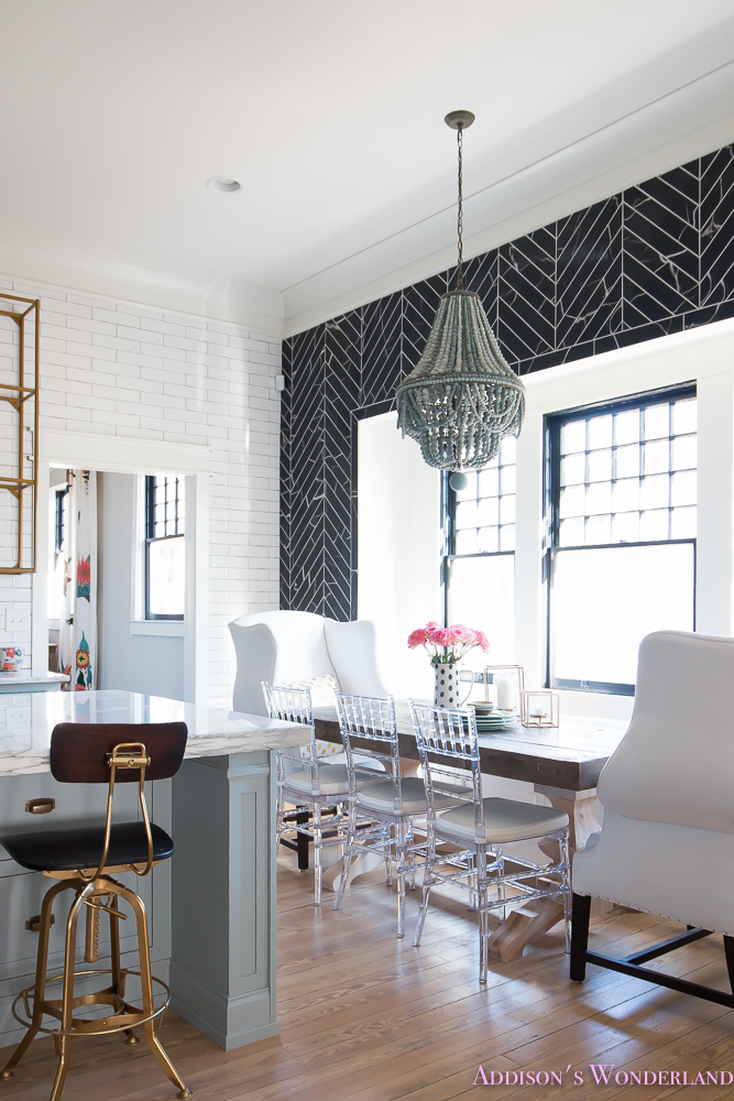 breakfast-room-black-chevron-wall-tile-white-wingback-dining-chairs-wood-table-clear-lucite-chairs-powder-blue-cabinets-14-of-28