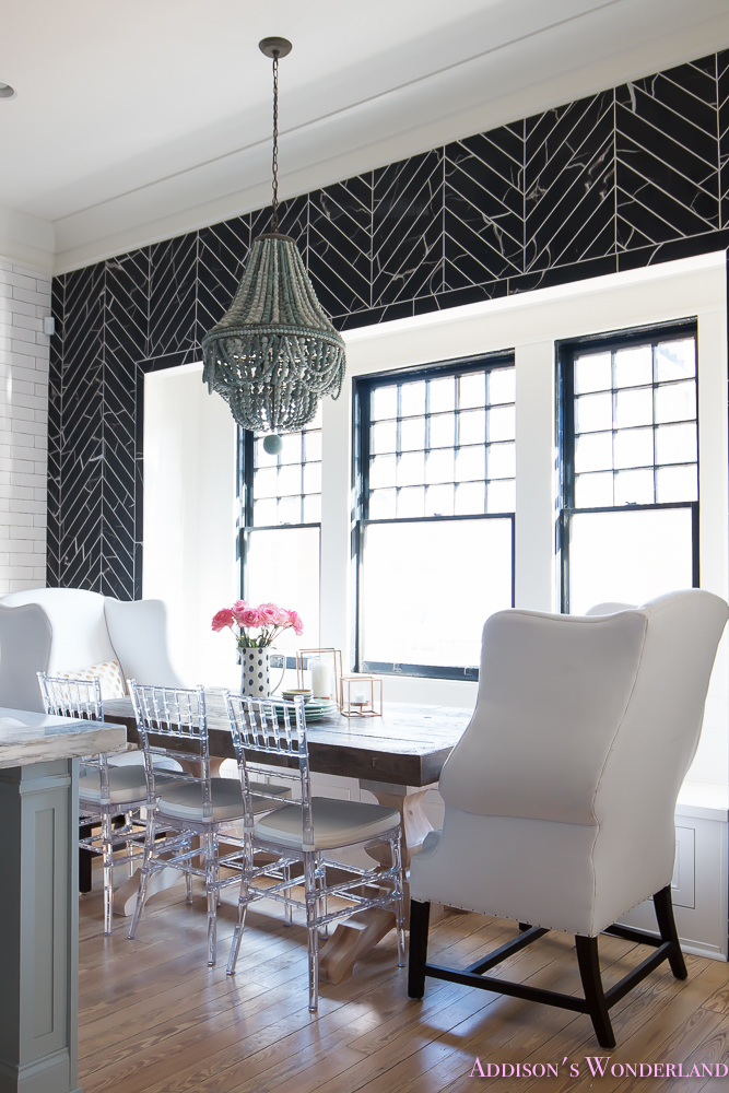breakfast-room-black-chevron-wall-tile-white-wingback-dining-chairs-wood-table-clear-lucite-chairs-powder-blue-cabinets-15-of-28