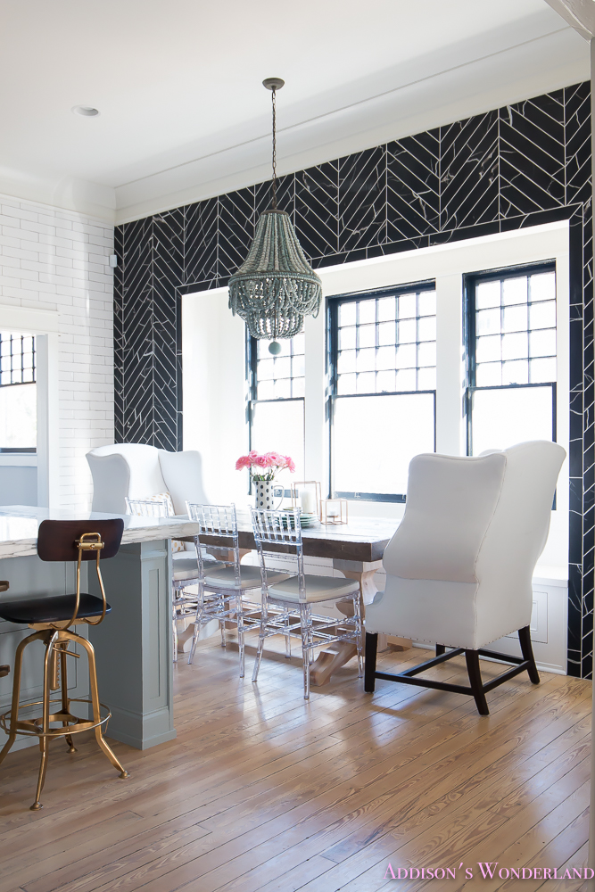 breakfast-room-black-chevron-wall-tile-white-wingback-dining-chairs-wood-table-clear-lucite-chairs-powder-blue-cabinets-17-of-28
