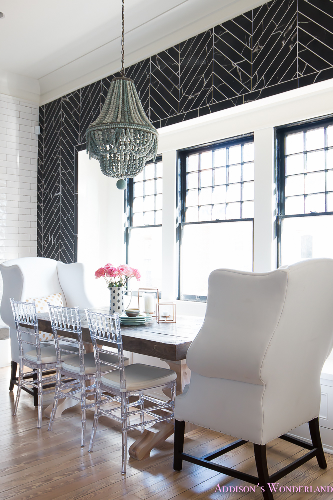 breakfast-room-black-chevron-wall-tile-white-wingback-dining-chairs-wood-table-clear-lucite-chairs-powder-blue-cabinets-18-of-28
