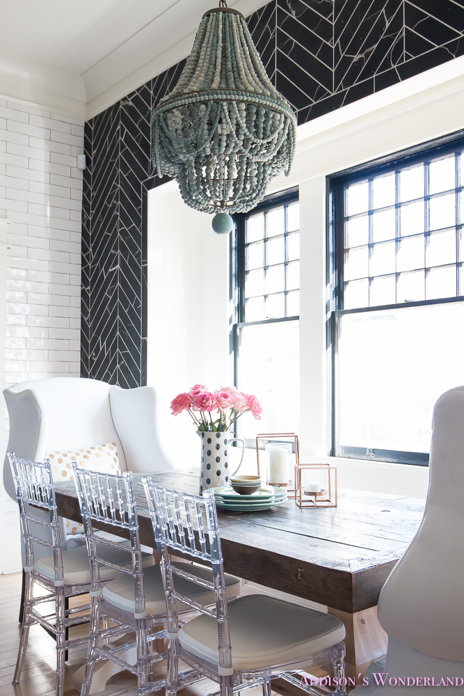 breakfast-room-black-chevron-wall-tile-white-wingback-dining-chairs-wood-table-clear-lucite-chairs-powder-blue-cabinets-19-of-28