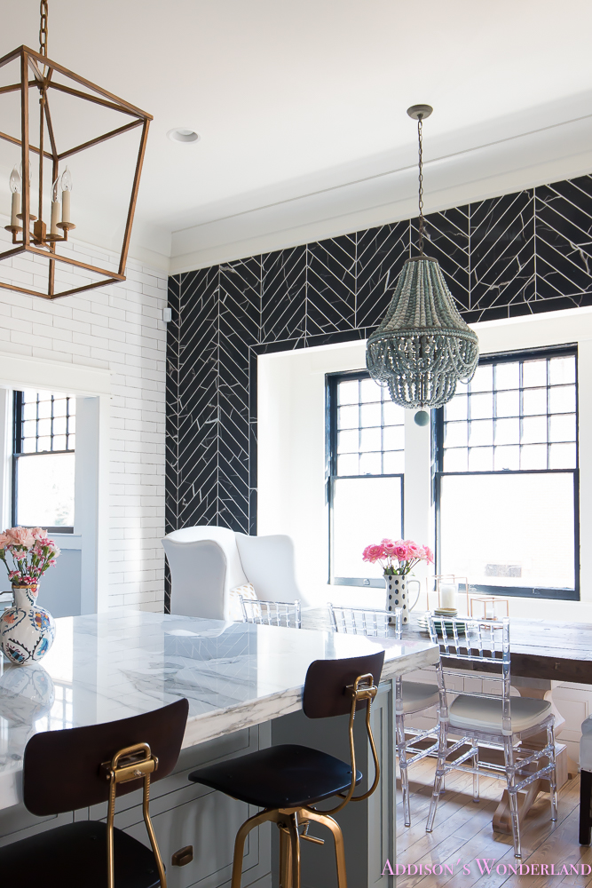 breakfast-room-black-chevron-wall-tile-white-wingback-dining-chairs-wood-table-clear-lucite-chairs-powder-blue-cabinets-21-of-28