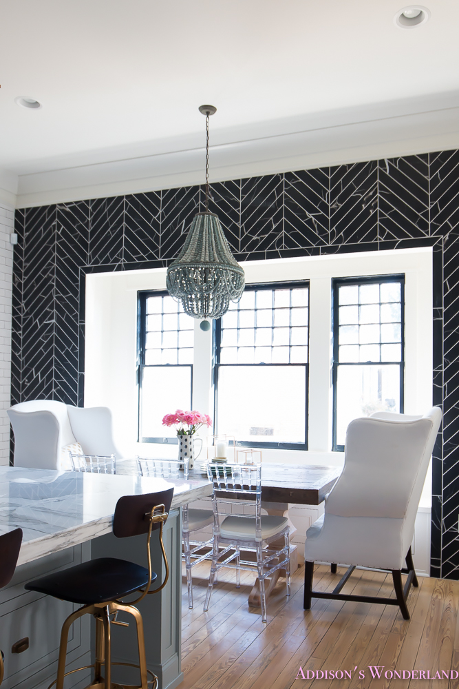 breakfast-room-black-chevron-wall-tile-white-wingback-dining-chairs-wood-table-clear-lucite-chairs-powder-blue-cabinets-22-of-28