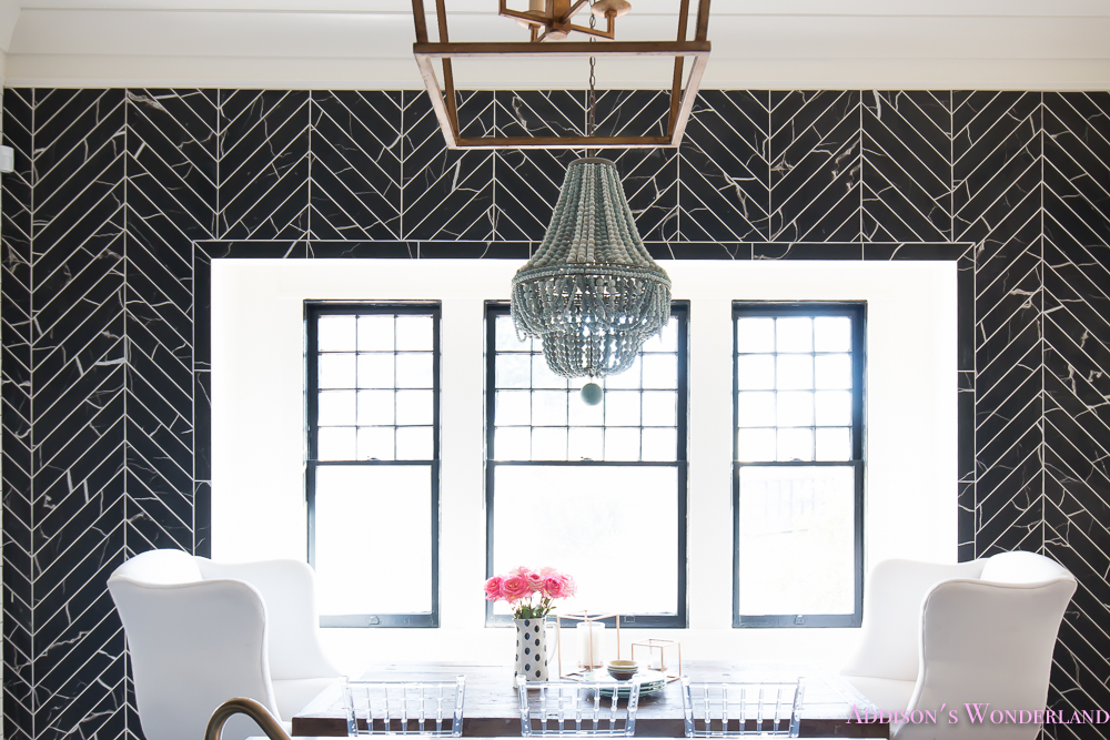 breakfast-room-black-chevron-wall-tile-white-wingback-dining-chairs-wood-table-clear-lucite-chairs-powder-blue-cabinets-24-of-28