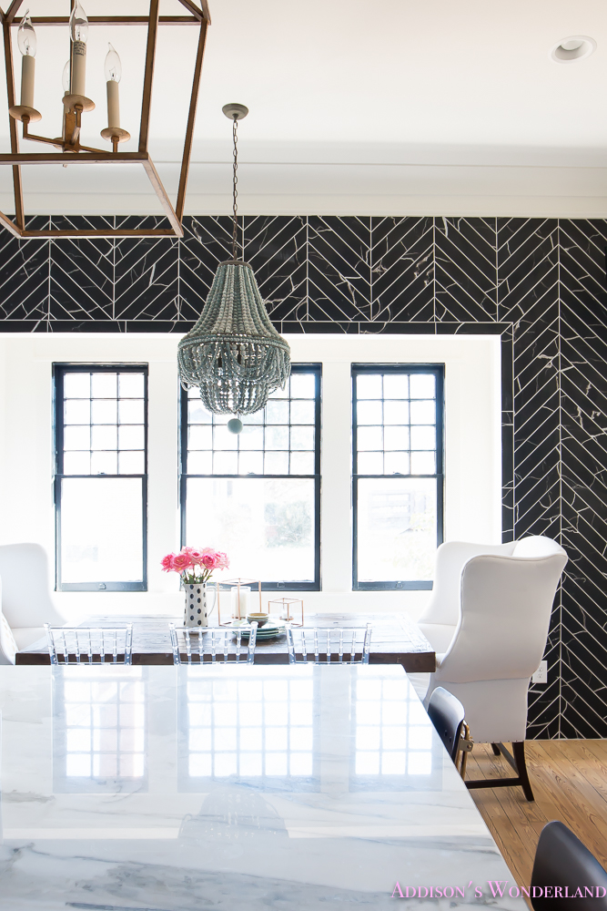 breakfast-room-black-chevron-wall-tile-white-wingback-dining-chairs-wood-table-clear-lucite-chairs-powder-blue-cabinets-25-of-28