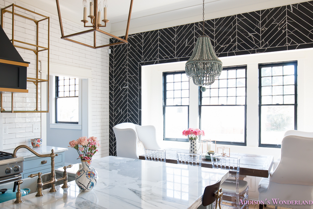 breakfast-room-black-chevron-wall-tile-white-wingback-dining-chairs-wood-table-clear-lucite-chairs-powder-blue-cabinets-26-of-28