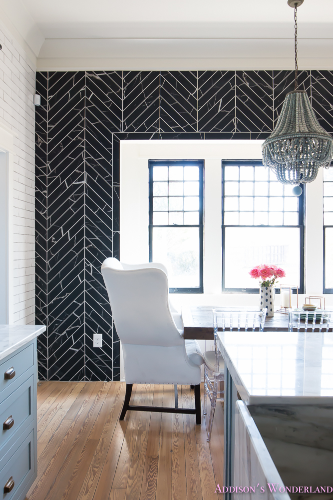 breakfast-room-black-chevron-wall-tile-white-wingback-dining-chairs-wood-table-clear-lucite-chairs-powder-blue-cabinets-27-of-28