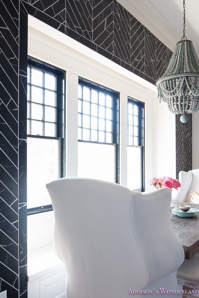 breakfast-room-black-chevron-wall-tile-white-wingback-dining-chairs-wood-table-clear-lucite-chairs-powder-blue-cabinets-28-of-28