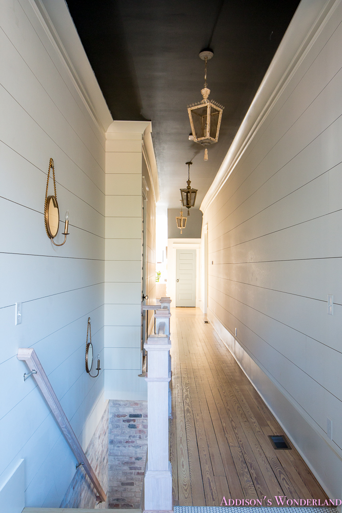 Hallway White Walls Shiplap Black Ceiling Alabaster Inkwell Lantern Chateau Blue Door Stardew Uncertain Grey Whitewashed Hardwood Flooring 9 Of 15