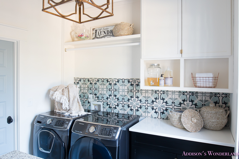 Laundry room organization ideas white black cabinets for Laundry room floor ideas