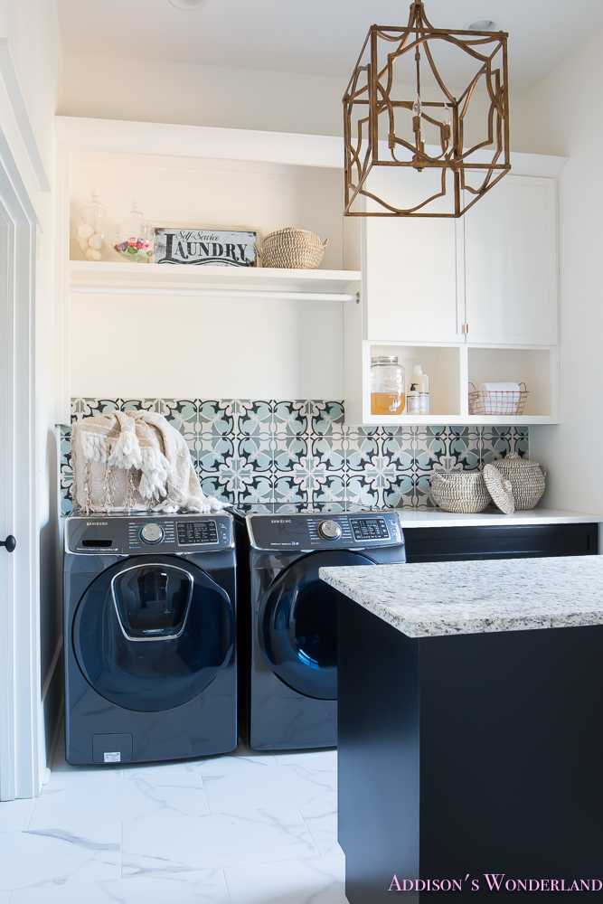 laundry room organization ideas white black cabinets cement - Laundry Room Decor
