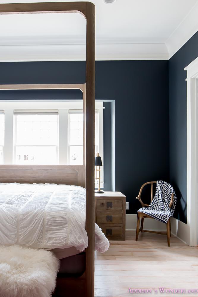 master-bedroom-black-walls-white-wood-bead-chandelier-whitewashed ...
