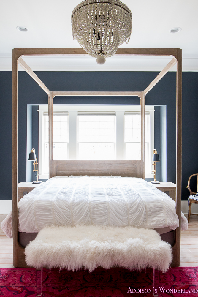 master-bedroom-black-walls-white-wood-bead-chandelier-whitewashed-hardwood-flooring-four-poster-bed-restpration-hardware-inkwell-rug-14-of-19