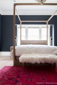 Master Bedroom Black Walls White Wood Bead Chandelier