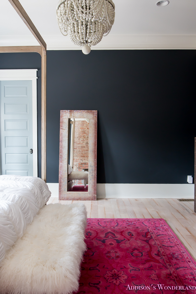 Do It Yourself Home Design: Master-bedroom-black-walls-white-wood-bead-chandelier