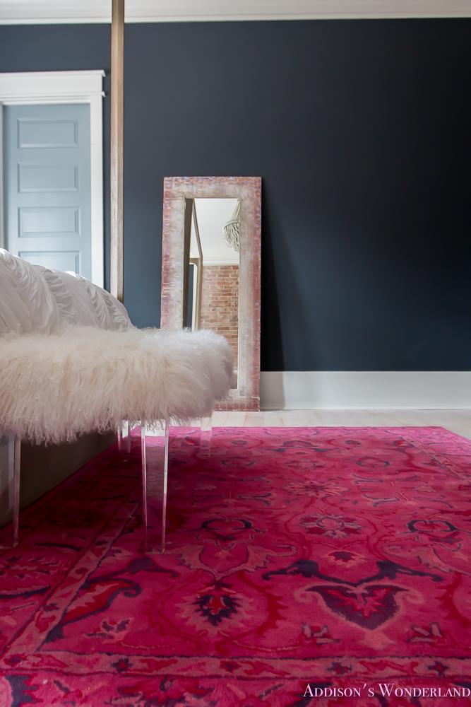 master-bedroom-black-walls-white-wood-bead-chandelier-whitewashed-hardwood-flooring-four-poster-bed-restpration-hardware-inkwell-rug-6-of-19