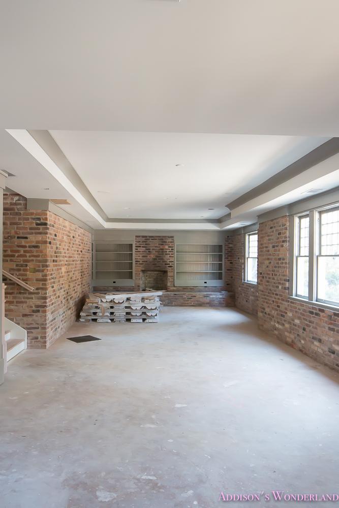 basement-whitewashed-brick-limewash-walls-hardwood-shaw-flooring-floor-dorian-gray-sherwin-williams-alabaster-lantern-crystal-chandelier-1-of-22