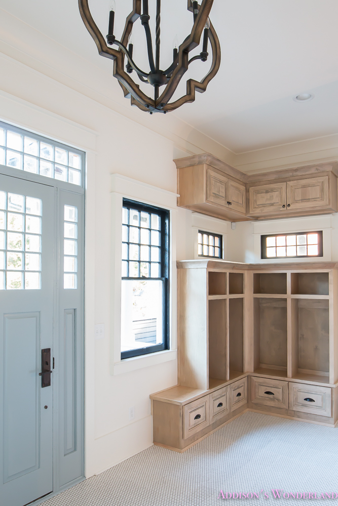 mud-room-coat-rack-shoe-storage-built-in-cabinets-white-penny-round-tile-shaw-floors-black-window-sashes-alabaster-sherwin-williams-12-of-15
