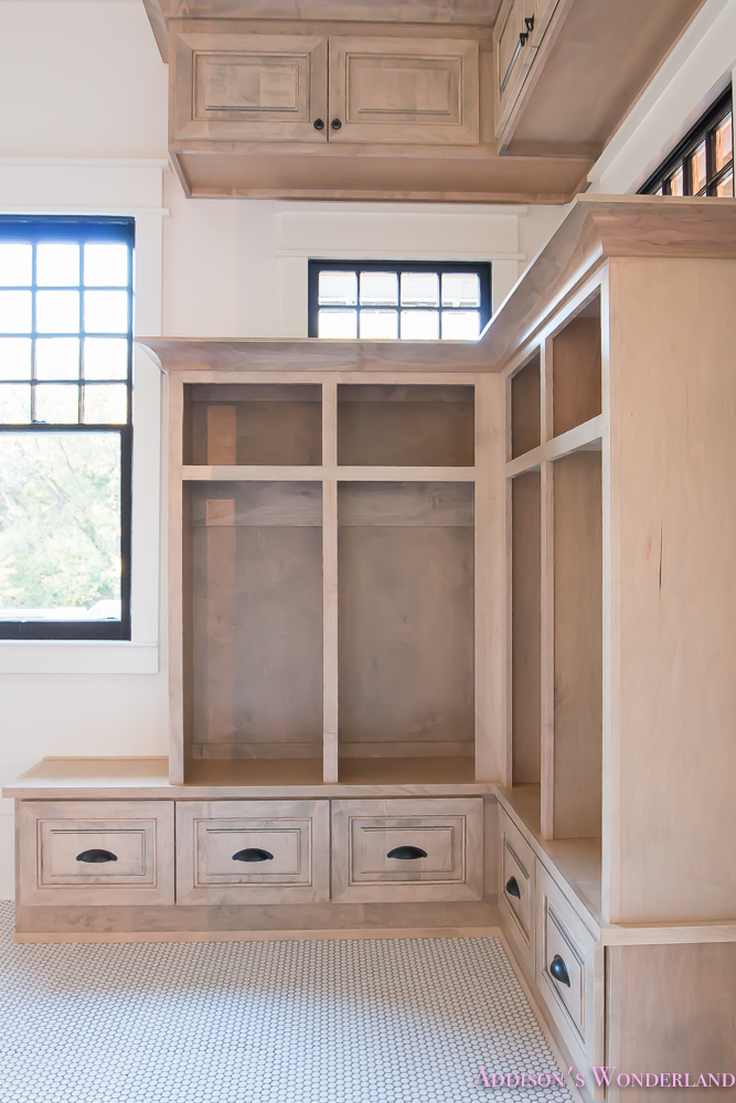 mud-room-coat-rack-shoe-storage-built-in-cabinets-white-penny-round-tile-shaw-floors-black-window-sashes-alabaster-sherwin-williams-6-of-15