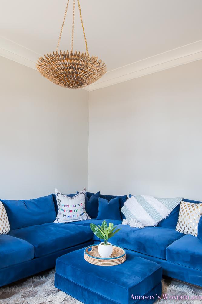 Family Living Room Sectional Navy Velvet Jonathan Louis Sofa Gold