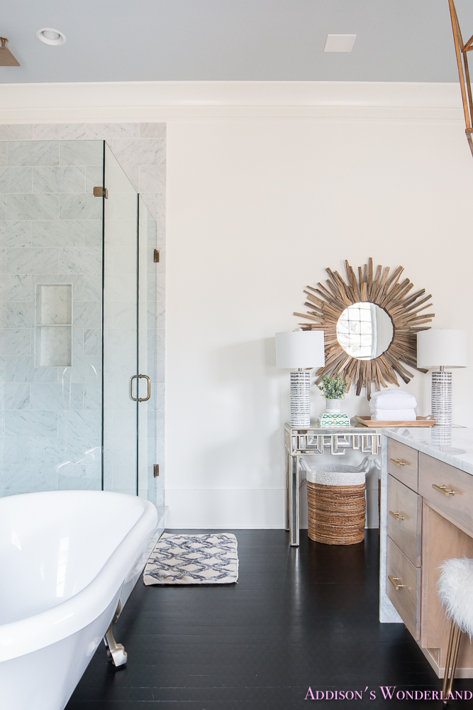 Master Bathroom White Walls Alabaster Lamps Plus Mirrored Console