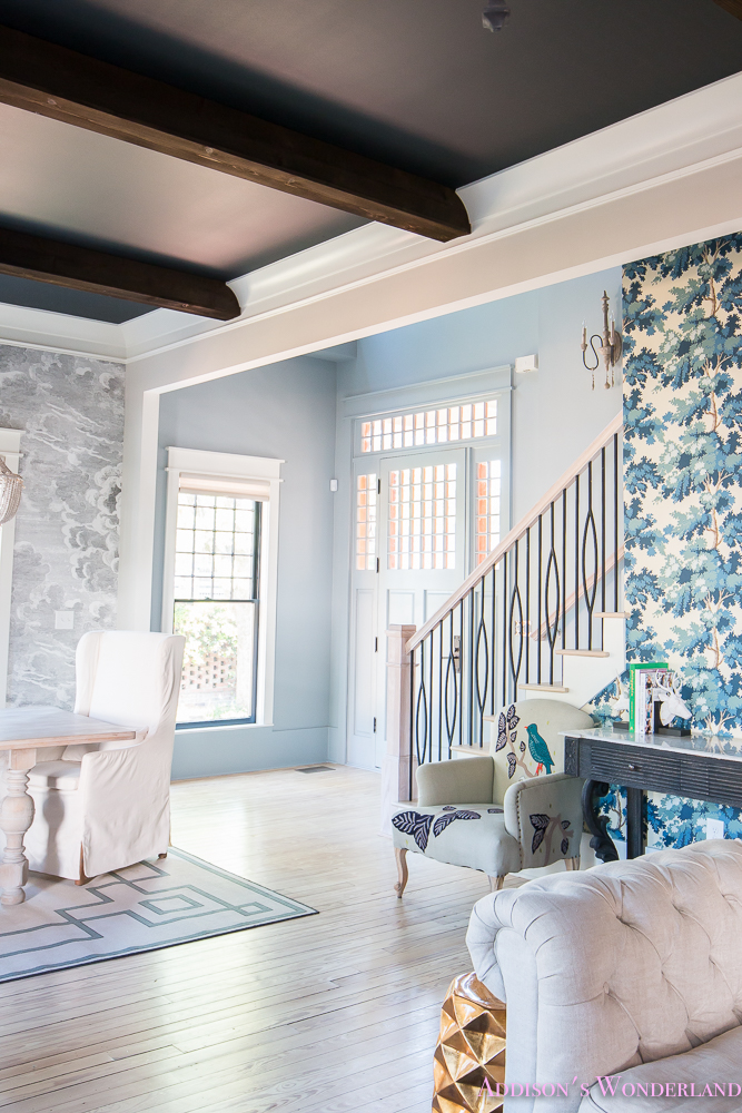 Foyer Wallpaper Powder Blue Gray Paint Black Ceiling Beams Stair Baers Railings Modern Dining Room Living Whitewashed Hardwoods 11 Of 14