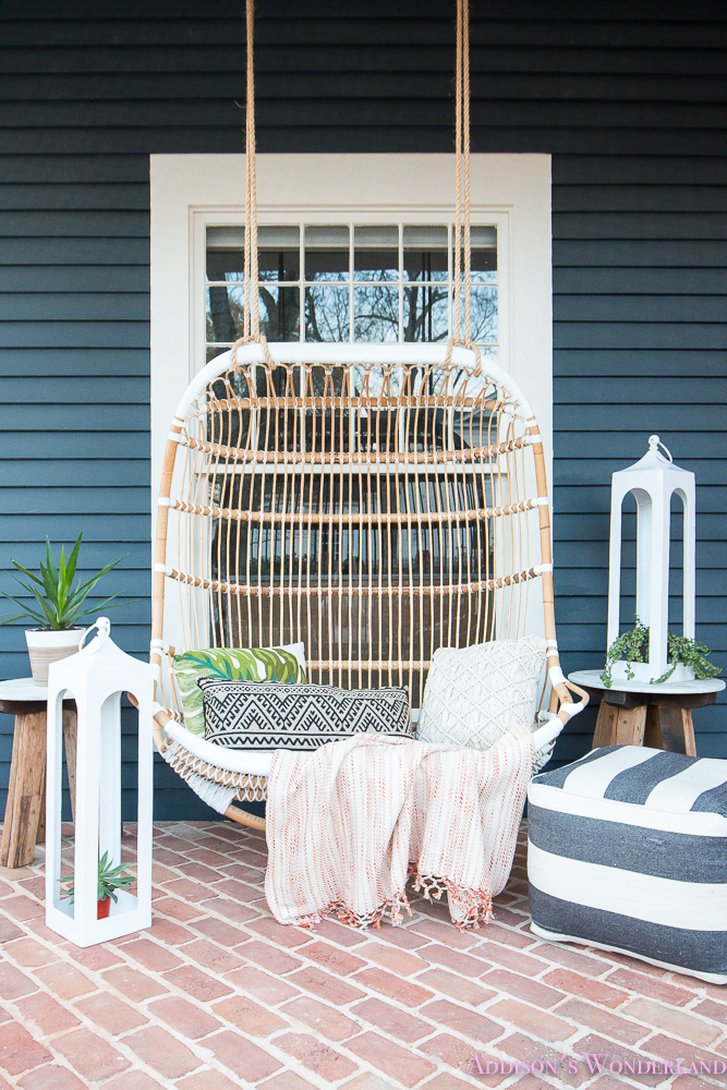 Front Porch Dark Gray Blue Siding Paint Exterior Craftsman House Rattan Outdoor Swing Decorating Spring Decor 31 Of 40