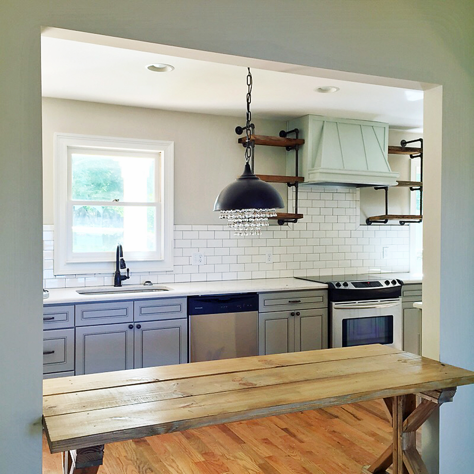 "Shelves For Kitchen Wall: ""How To"" Shiplap Wall & Open Pipe Shelving"