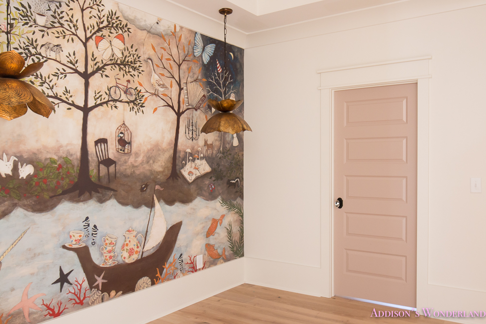 Awesome Art Room Craft Mural  Anthropologie Rebecca Rebouche Enchanted Forest Flower Pendants Lotus Bronze Chandelier Rose Quartz Doors Paint Alabaster  Sherwin  ... Part 10