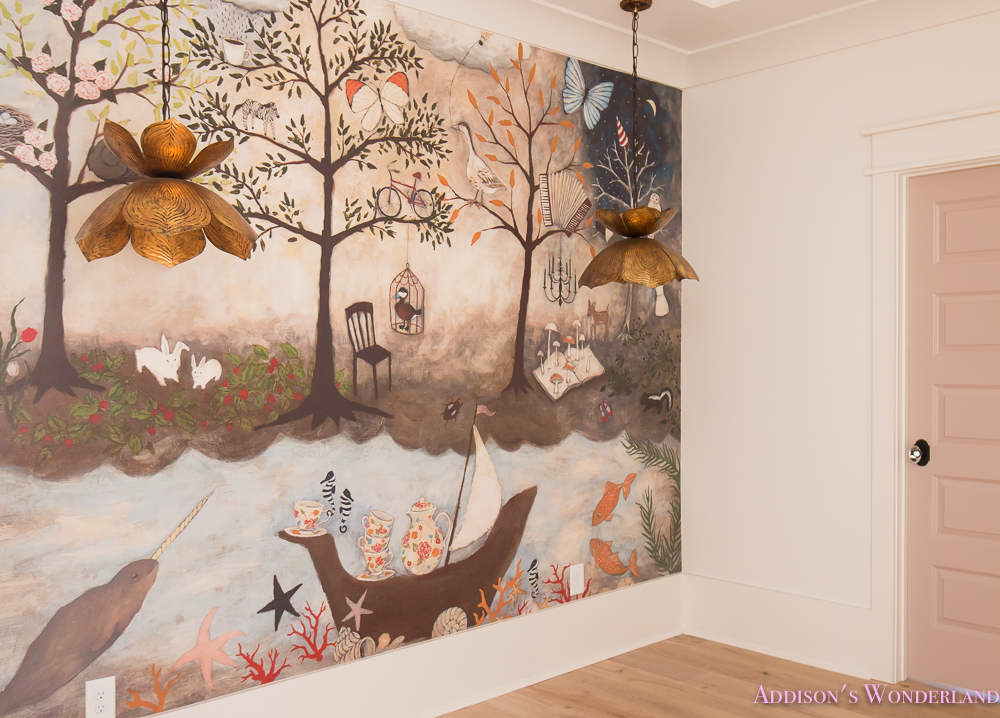 Our art craft homework room mural reveal addison 39 s for Anthropologie enchanted forest mural