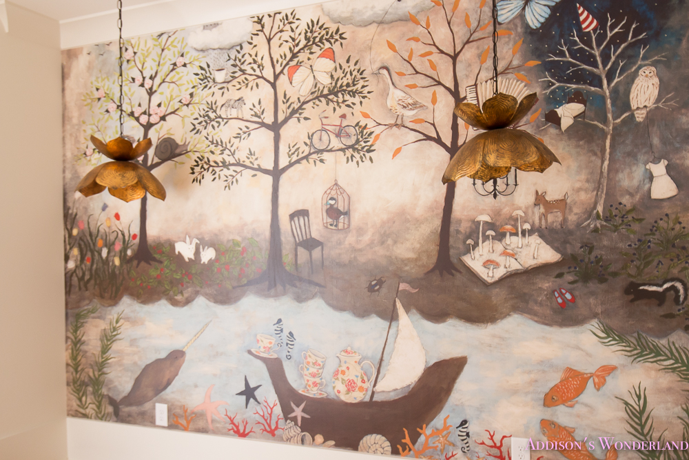 Art room craft mural anthropologie rebecca rebouche for Anthropologie enchanted forest mural