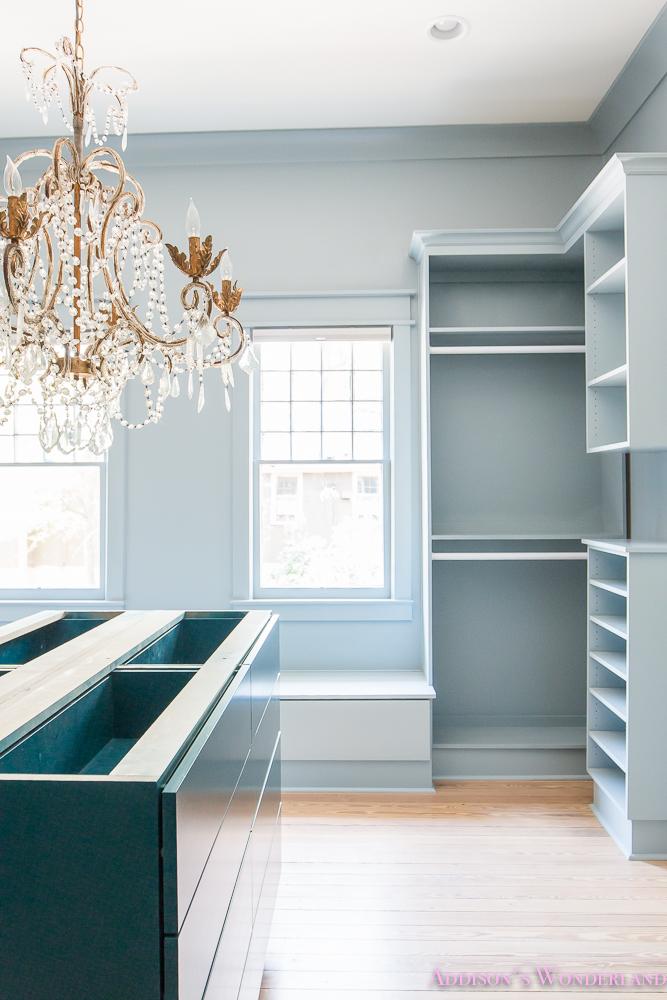 Custom Closet Light Powder Blue Cabinets Teal Island  Walls And Trim Crystal Anthropologie Chandelier Bench Seat Window Shoe Storage 5 Of 10