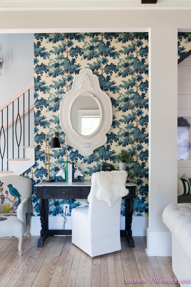 Desk Styling Floral Wallpaper Mirror Chair Book Ends Painted Fox Desks Chairs Anthropologie Stairway 2 Of 9