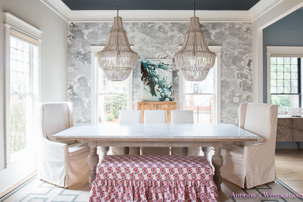 Dining Room Bench Fabric Ruffles Beaded Chandelier Cloud Wallpaper Marble Table Parsons Chairs Wonderland 1 Of 6